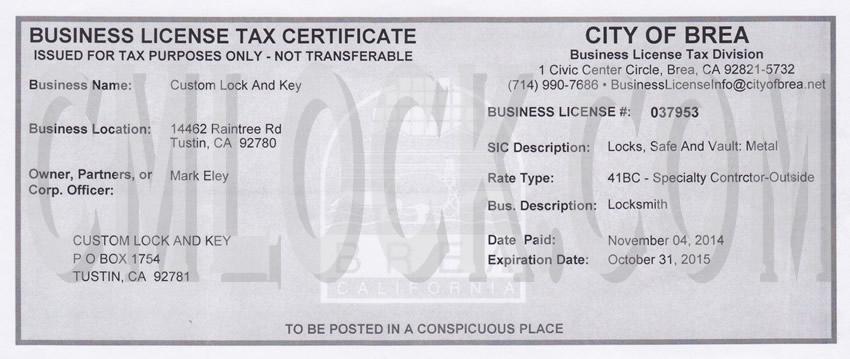 Business License Tax Certificate California - Best Design ...