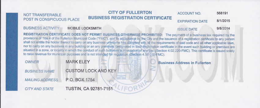 Newport Beach Business License Form