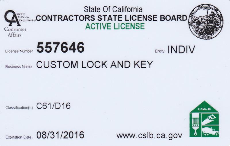 custom lock and key licensed • bonded • insured
